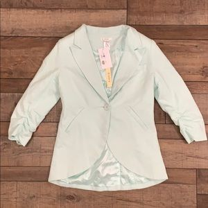 NWT Women's Esley Mint Blazer With Ruched Sleeves